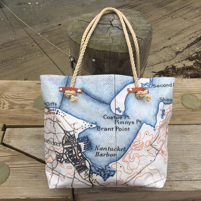 Nantucket Map Tote Bag