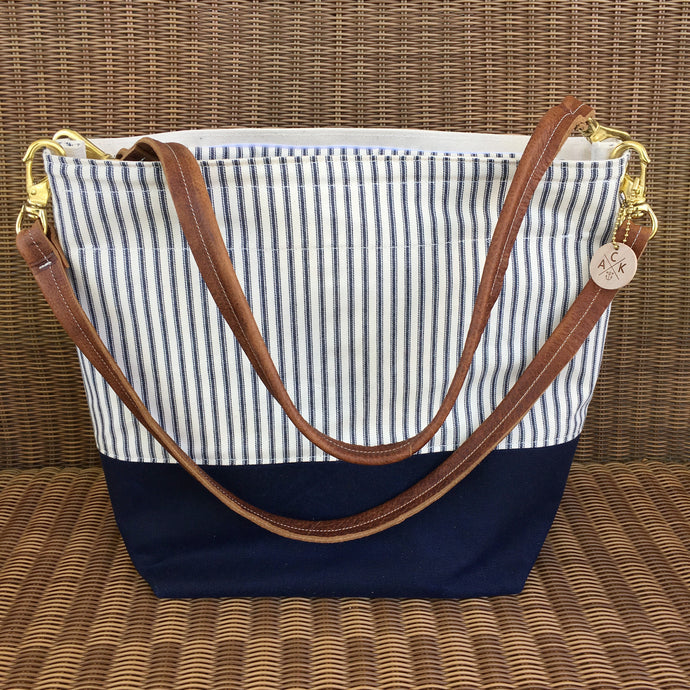 Waxed Navy Canvas & Striped Weekend Tote