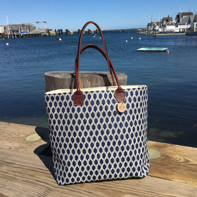 Navy Nauti Rope Large Tote