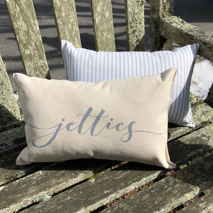 Jetties Canvas Mini Bolster in Natural & Grey