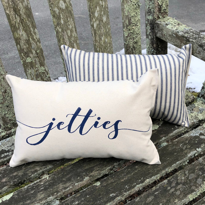 Jetties Canvas Mini Bolster in Natural & Navy