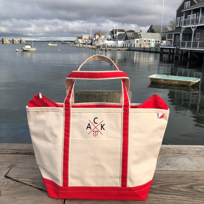 ACK 4170™ Large Canvas Zip Top Tote Red