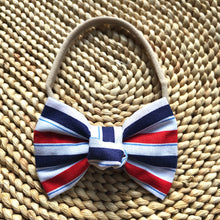 Red, White & Blue Striped Bow Headband