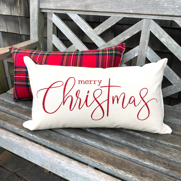 Merry Christmas Canvas & Plaid Flannel Bolster