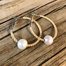 Nantucket Basket Woven & Large Pearl Earrings 1.38""
