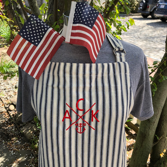 Navy & Natural ACK 4170 Embroidered Ticking Apron
