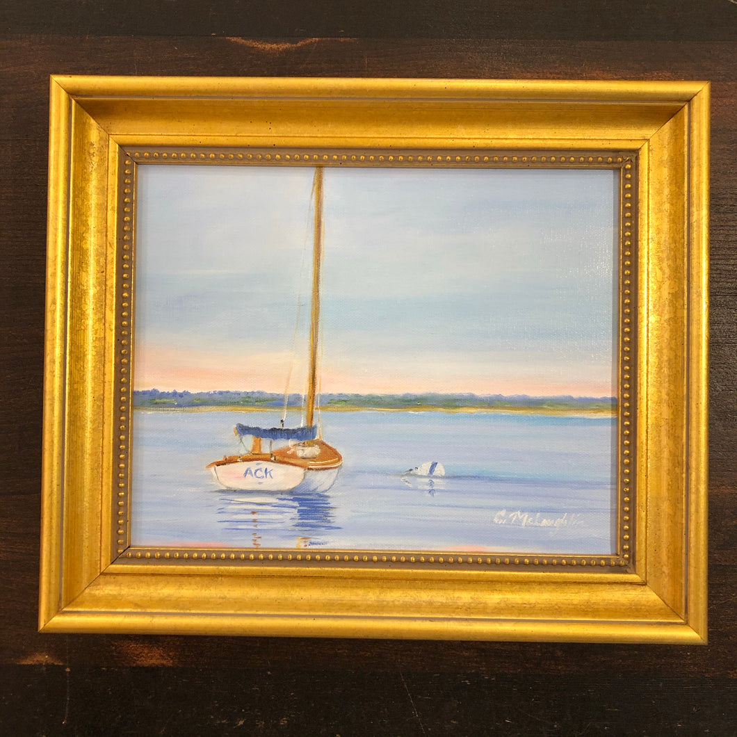 White Cat Boat at Dawn Oil Painting