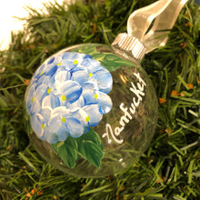 Blue Hydrangea Hand-Painted Glass Ornament