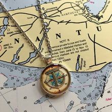 Old World Compass Rose Anchor Necklace Small