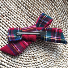 Red Plaid Flannel Bow Hair Clip