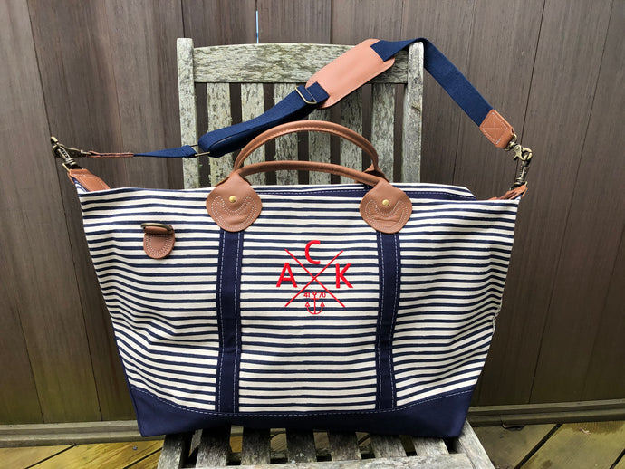 ACK 4170™ Navy Striped Canvas Weekend Duffel Bag