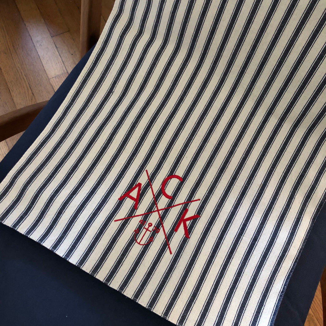 Navy & Natural ACK 4170 Embroidered Table Runner