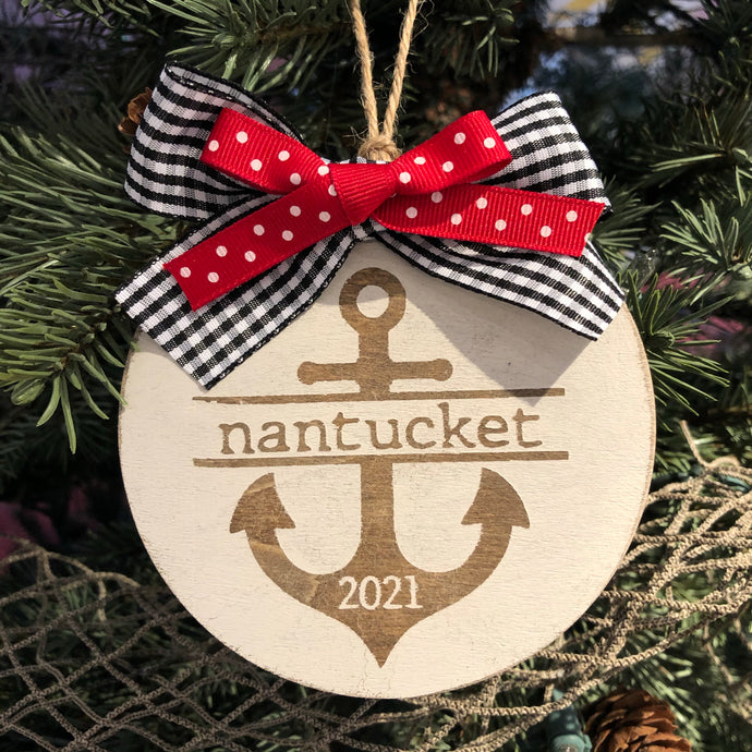 Nantucket Anchor 2021 Wooden Ornament