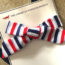 Red, White & Blue Striped Bow Hair Clip
