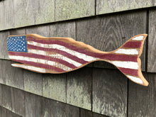 American Flag Wooden Whale