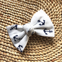 White & Navy Anchor Bow Tie