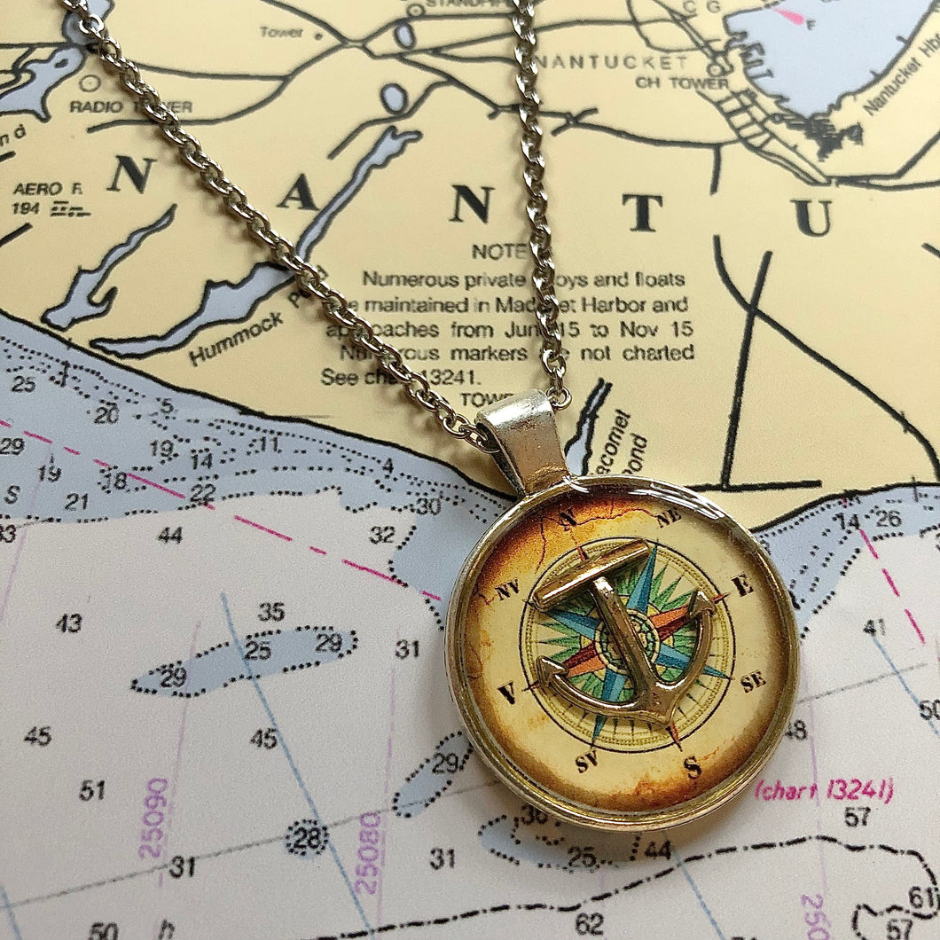 Old World Compass Rose Anchor Necklace Large