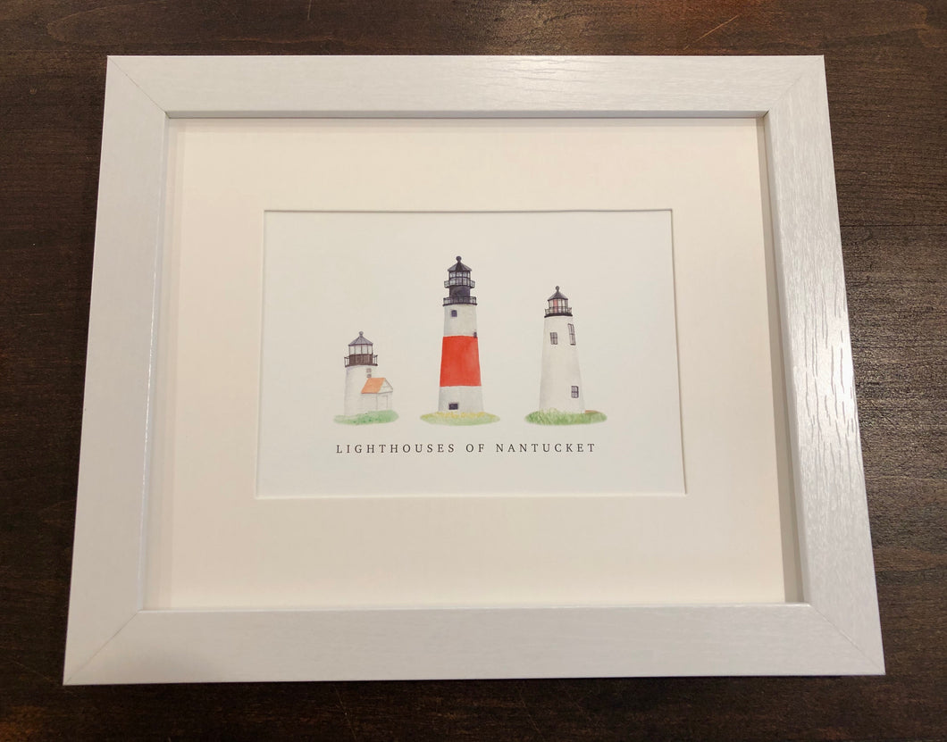 Lighthouses of Nantucket Framed Watercolor Print