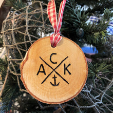 ACK 4170 Birch Slice Red Gingham Ornament