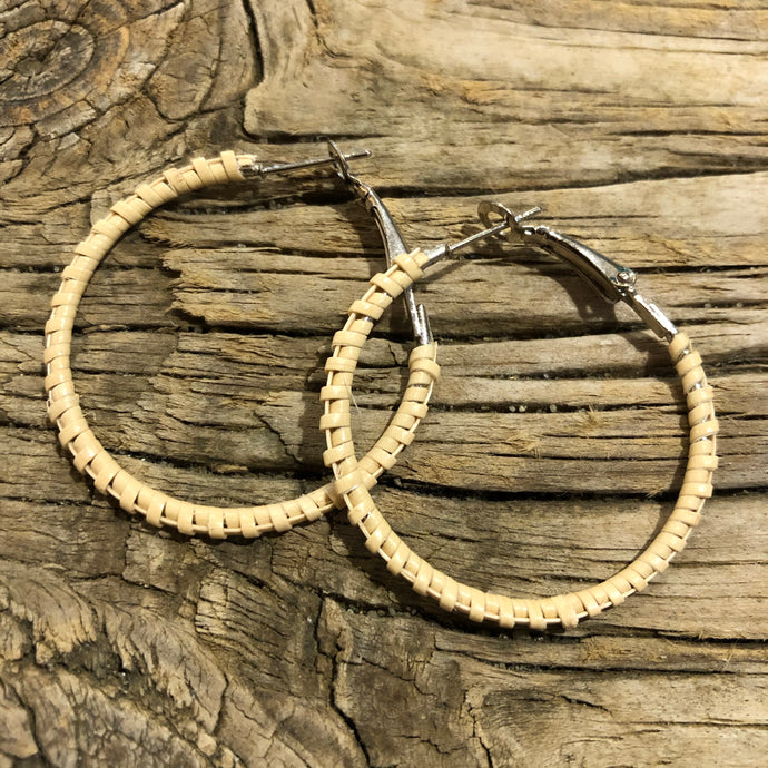 "Nantucket Basket Woven Natural 1.5"" Earrings"