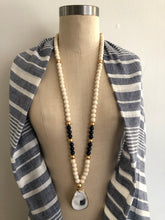 Navy & Ivory Oyster Shell Necklace