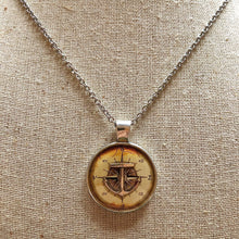 Old World Compass Anchor Necklace Large