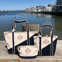 Small Navy Contemporary Classic Boat Tote