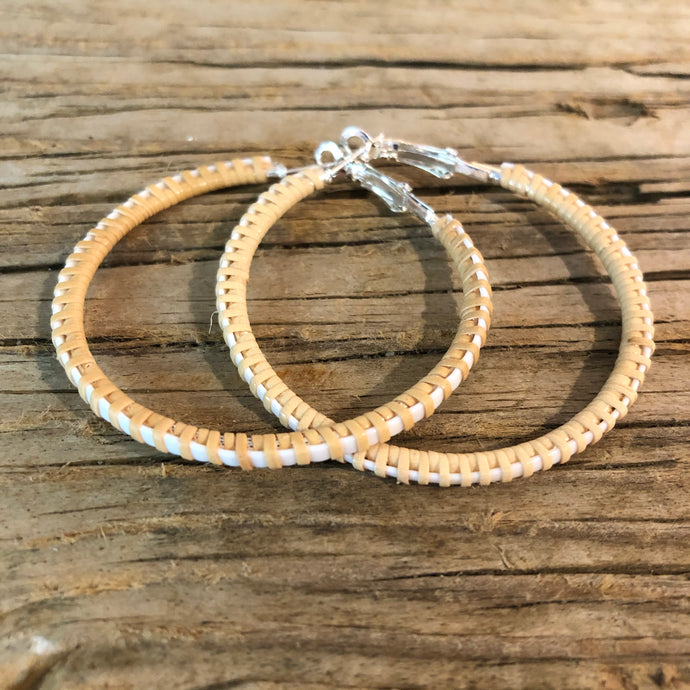 "Nantucket Basket Woven Natural & White 1.5"" Earrings"
