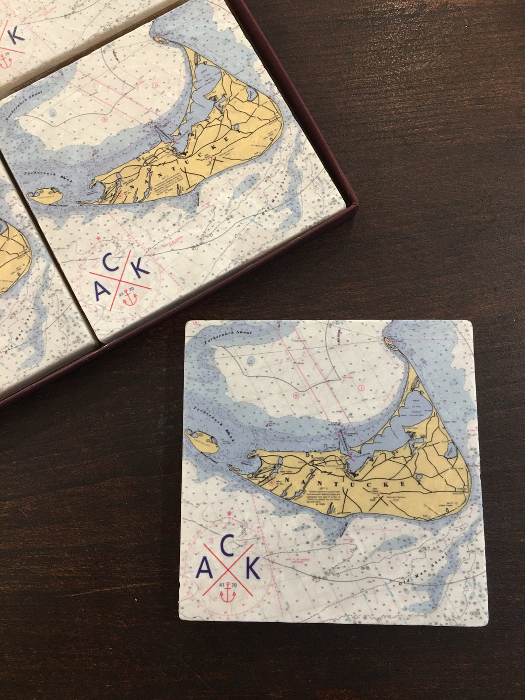 ACK 4170™ Nantucket Island Chart Marble Coaster Set