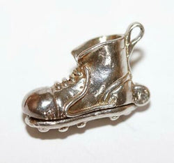 "Vintage Football Rugby Boots Opening to ""GOAL"" Sterling Silver Bracelet Charm"