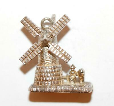 Moving Mechanical Dutch Windmill With Couple Sterling Silver Vintage Charm 3.1g