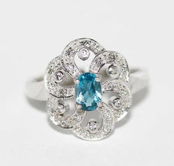 Sterling Silver 925 Blue Topaz And CZ Ring Size 7.25