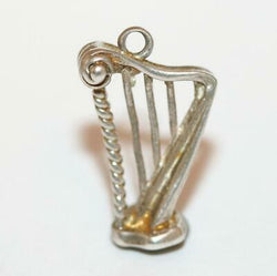 Irish Harp On Stand Sterling Silver Vintage Bracelet Charm With Gift Box 2g