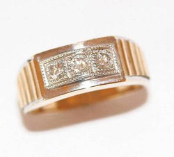 14k Yellow Gold Mens 3-Stone 3/4 Carat Diamond Ring Sz 10.5