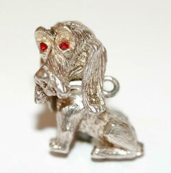 Moving Bassett Hound Dog Sterling Silver Bracelet Vintage Bracelet Charm by NC