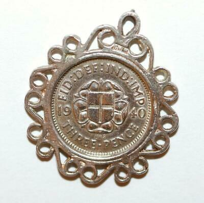 Chim Antique 1940 Framed English 3 Pence Coin Sterling Silver Charm (Genuine)