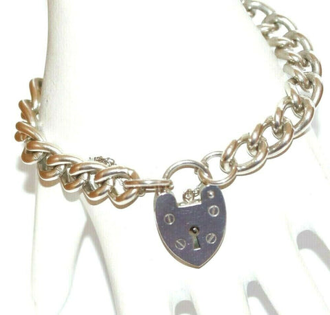 "7.5"" Vintage English Sterling Silver Padlock Clasp Charm Bracelet by SSMCo 38g"