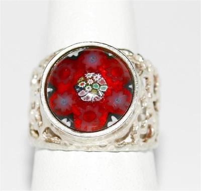 Vintage Murano Millefiori Glass Filigree Band Sterling Silver Ring Size 7