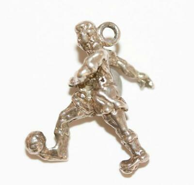 Boy Kicking Ball Sterling Silver Vintage Bracelet Charm With Gift Box 3.2g