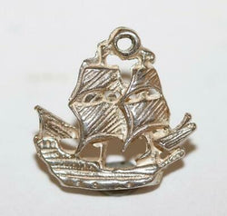 Small Galleon Sailing Ship Sterling Silver Vintage Bracelet Charm With Gift Box