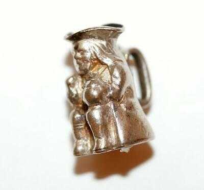 English Toby Mug Stein Sterling Silver Vintage Bracelet Charm With Gift Box 3g