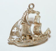 Galleon Ship With Cross Sail Sterling Silver Vintage Bracelet Charm 2.5g
