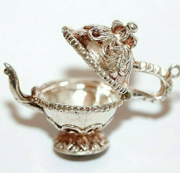 Opening English Teapot Sterling Silver Vintage Bracelet Charm, Larger 7.6g