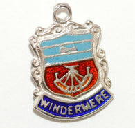 Windermere England Sterling Silver Enamel Travel Shield Vintage Charm by AS