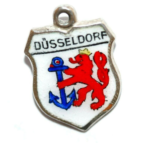 Dusseldorf Germany Coat Of Arms Silver Enamel Shield Vintage Charm By REU