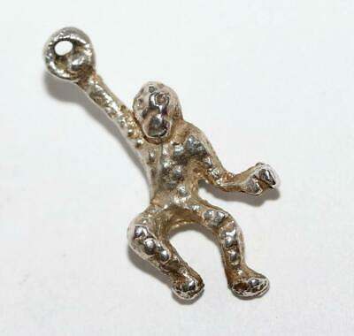 Monkey Hanging From Ring Sterling Silver Vintage Bracelet Charm