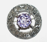 Vintage Robert Allison Sterling Silver 10ct Amethyst Scottish Celtic Pin Brooch