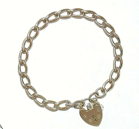 "7.5"" Vintage English Sterling Silver Charm Bracelet Padlock Clasp by LC, 19g"