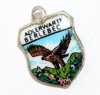 Adlerwarte Berlebeck Germany Silver Enamel Travel Shield Vintage Charm Signed REU