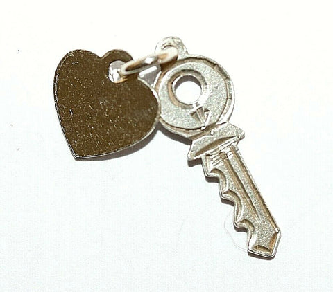 Key To Heart Sterling Silver Vintage Bracelet Charm With Gift Box 1.2g